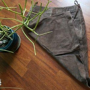 Sexy dark brown leather split back skirt. Vintage